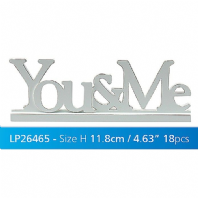 'YOU AND ME' LARGE WHITE CARVED FREE STANDING SIGN VALENTINES FRIENDS GIFT WAS £7.95
